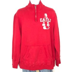 AMERICAN EAGLE 1/4 Zip Graphic Pullover Sweatshirt